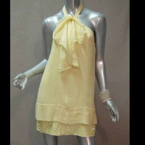 BCBGMaxAzria Dresses & Skirts - BCBG MazAzaria Yellow Sequin Cocktail Dress